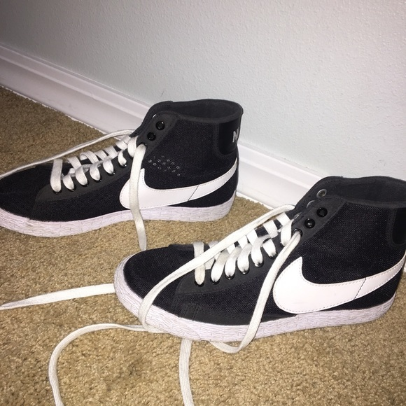 "watch de77f b3b29 Black Mesh Nike ""Blazer"" High Tops Women's (US:8)"